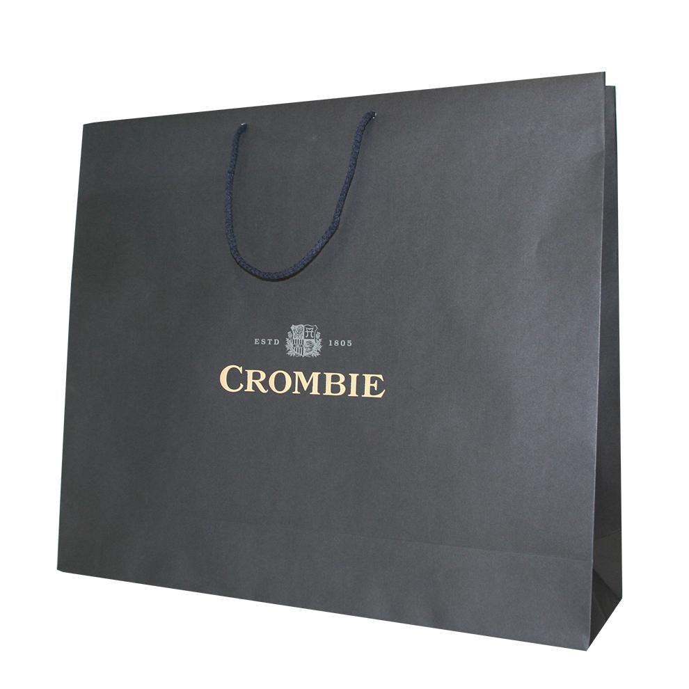 Luxury Black Matt Paper Bag With Rope Handles Branded