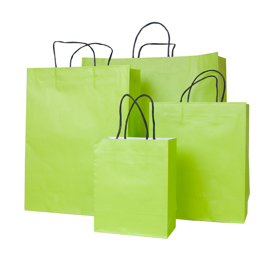Lime Green Paper Carrier Bag Barry Packaging