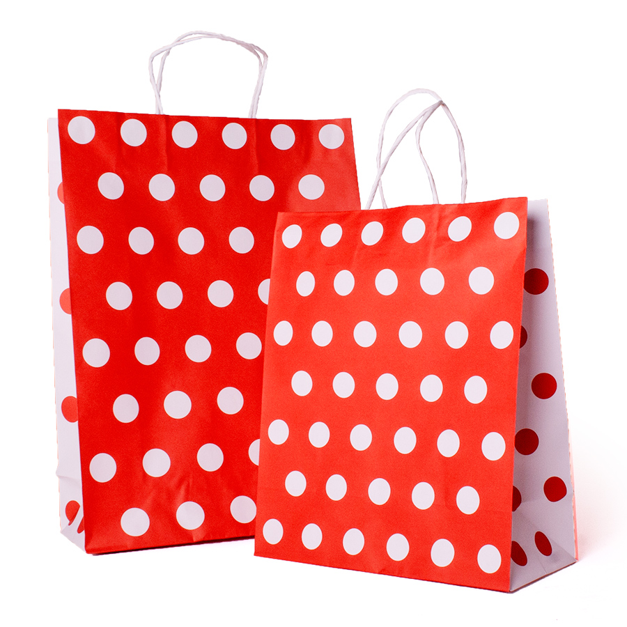Polka Dot Carrier Bag Red And White Paper Bags Barry