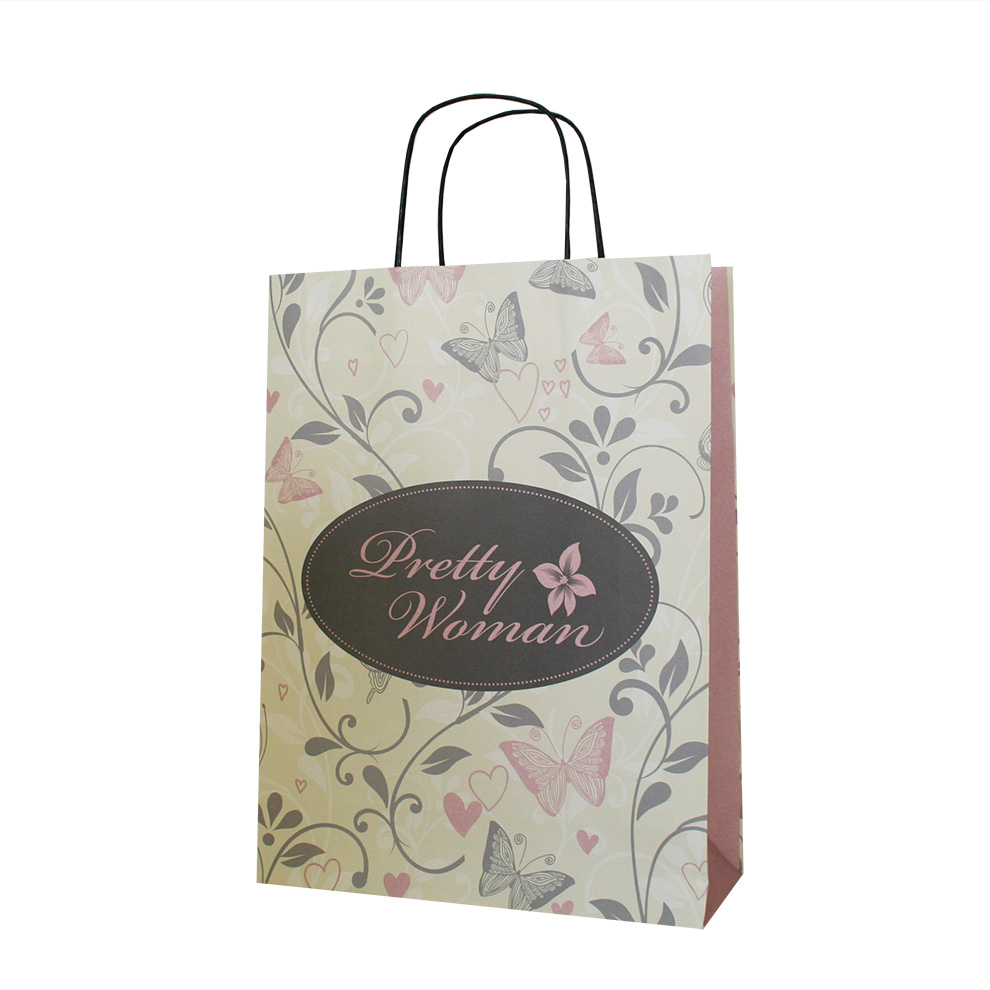Floral Pattern Twist Handle Paper Bag Custom Printed
