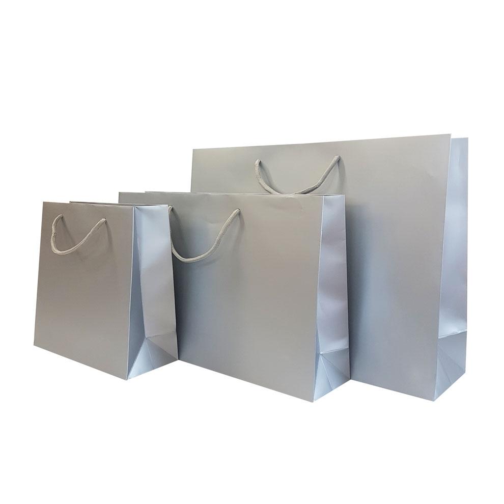 metallic silver matt laminated carrier bag luxury bags barry